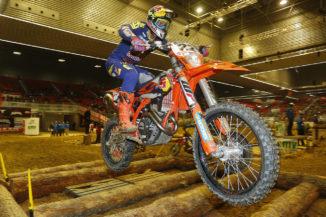 Walker on the podium at SuperEnduro in Bilbao