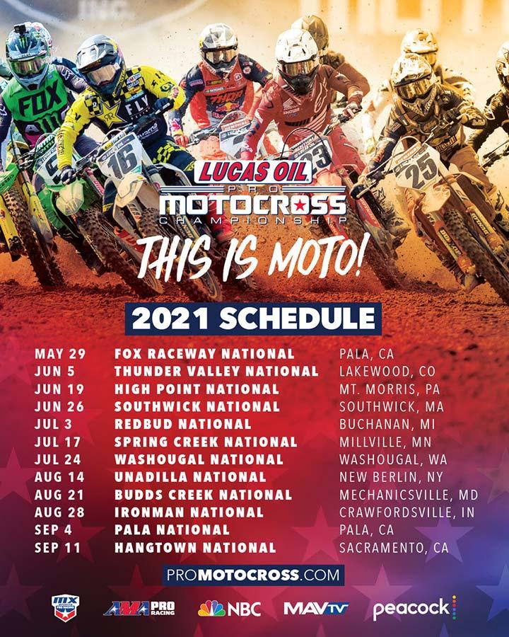 2021 AMA Lucas Oil Pro Motocross Championship Schedule