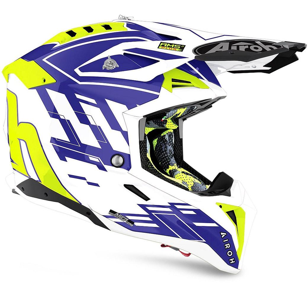 Motocross helmet Airoh Aviator 3 Blue Rampage